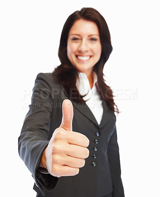 Buy stock photo Portrait of a confident cheerful business woman with thumbs up celebrating success