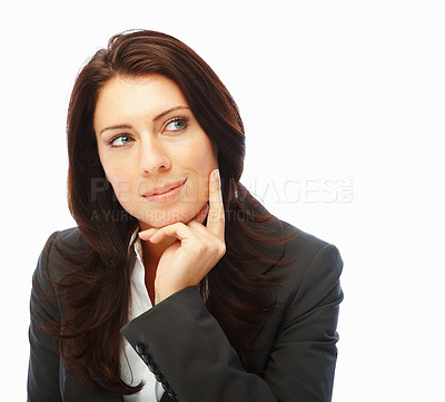 Buy stock photo Cute business woman looking away and thinking, isolated on white