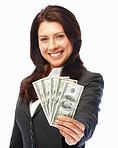 Young business woman holding currency notes and smiling