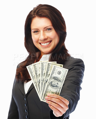 Buy stock photo Confident young business woman holding currency notes and smiling