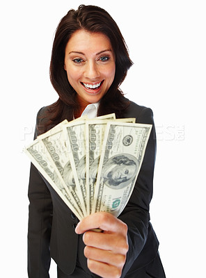 Buy stock photo Portrait cute young business woman holding cash and smiling