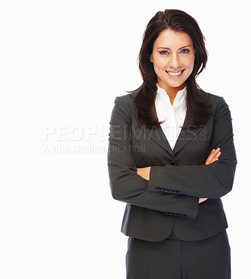 Buy stock photo Positive business woman smiling over white background