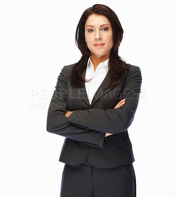 Buy stock photo Portrait of a successful young business woman with hands folded on white