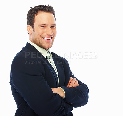 Buy stock photo Young business man with hands folded against white background
