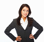 A modern business woman posing over white background