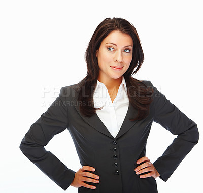 Buy stock photo Portrait of a modern business woman posing over white background