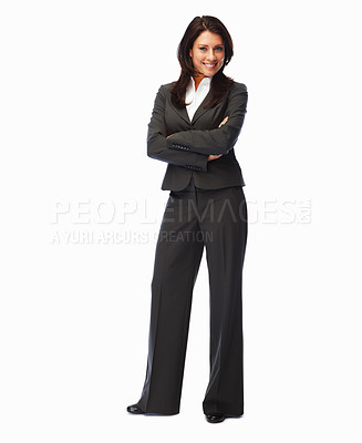 Buy stock photo Full length image of a business woman standing over white