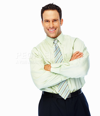 Buy stock photo Portrait of handsome confident business man smiling with hands folded over white background