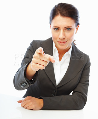 Buy stock photo Portrait of a successful young business woman pointing her finger
