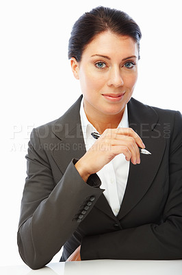 Buy stock photo Portrait of a cute business woman holding a pen, isolated on white background