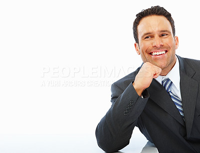 Buy stock photo Happy young business man smiling over white background