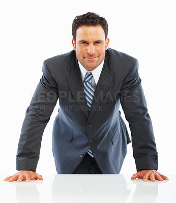 Buy stock photo Portrait of a confident young business man isolated on white