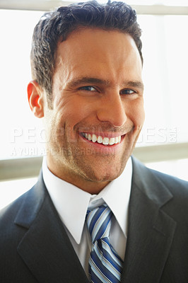 Buy stock photo Closeup portrait of a delighted business man isolated over white background