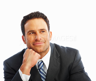 Buy stock photo Portrait of a smart handsome business man in a contemplative mood