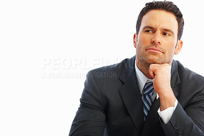 Buy stock photo Portrait of a young business looking away and thinking over white background