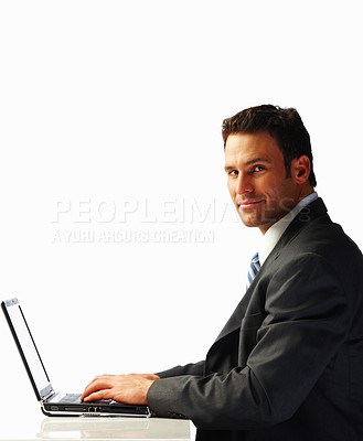 Buy stock photo Portrait of a business man working on a laptop over white background