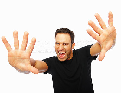 Buy stock photo Portrait of a scared man with hands stretched forward