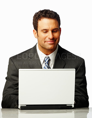 Buy stock photo Portrait of a satisfied business man working on a laptop, isolated on white