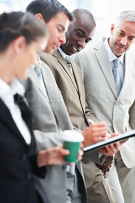 Buy stock photo Portrait of a professional business people discussing business issues