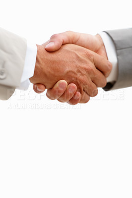 Buy stock photo Closeup of business people shaking hands over white background