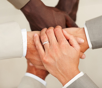 Buy stock photo Closeup of a handclasp of business people