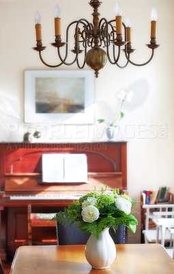 Buy stock photo A warm photo of flower and dinning room (Danish)