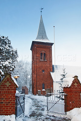 Buy stock photo A photo of a Danish Church in winter