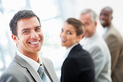 Buy stock photo Image of a successful business people smiling confidently