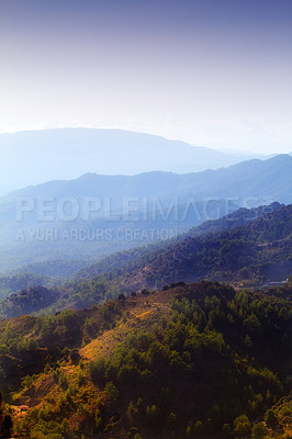 Buy stock photo Shot of a mountain on a beautiful day
