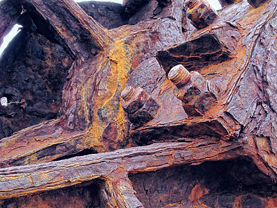 Buy stock photo Rusty-colored iron - old age steel metal nut