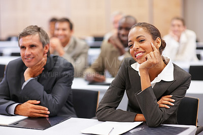 Buy stock photo Successful business colleagues at a business conference