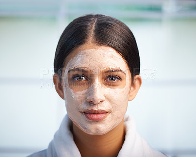 Buy stock photo Portrait of an attractive young woman wearing a facial mask