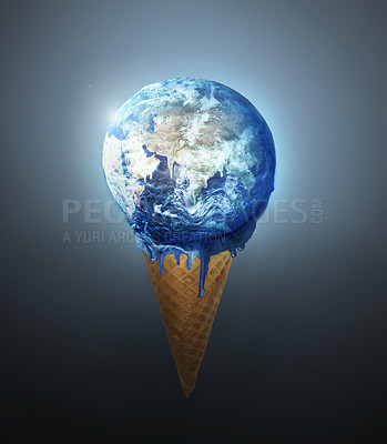 Buy stock photo Image of planet earth melting on an ice-cream cone - ALL design on this image is created from scratch by Yuri Arcurs'  team of professionals for this particular photo shoot