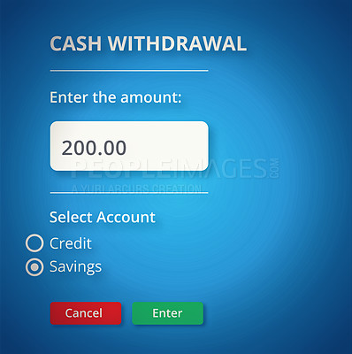 Buy stock photo A banking user interface showing a cash withdrawal - ALL design on this image is created from scratch by Yuri Arcurs'  team of professionals for this particular photo shoot