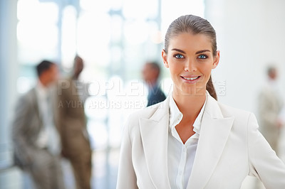 Buy stock photo Portrait of a cute business woman at her workplace