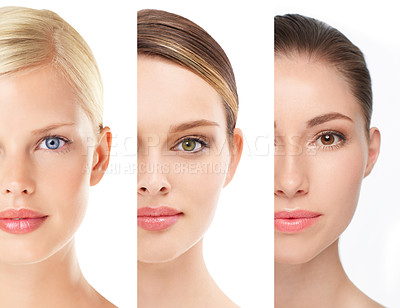 Buy stock photo Cropped image of beautiful young women's faces against white background