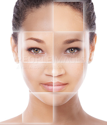 Buy stock photo Closeup concept portrait of a beautiful young woman  with a grid pattern layered over her face