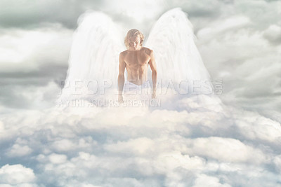 Buy stock photo Shot of a masculine angel walking through the heavens