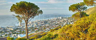 Buy stock photo A hillside view looking down on Cape Town, South Africa