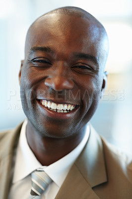 Buy stock photo Closeup Image of a happy African American business man
