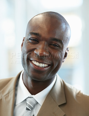 Buy stock photo Closeup portrait of a successful African American business man