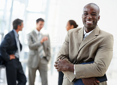 Buy stock photo An image of a pleasant delighted African American business man smiling confidently