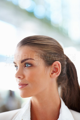Buy stock photo Portrait of an elegant successful business woman looking away
