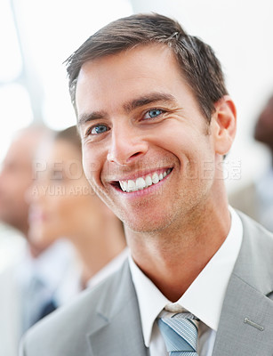 Buy stock photo Image of a satisfied happy business man smiling confidently