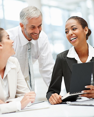 Buy stock photo Portrait of attractive business people working together in the office
