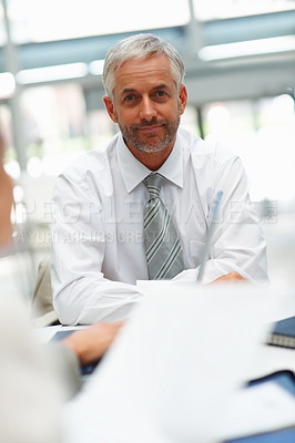 Buy stock photo Portrait of a relaxed handsome business man