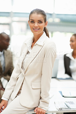 Buy stock photo Portrait of an elegant business woman with people in the background