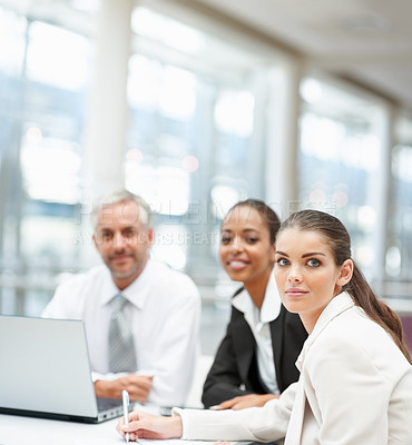 Buy stock photo Mature business man and young women working together