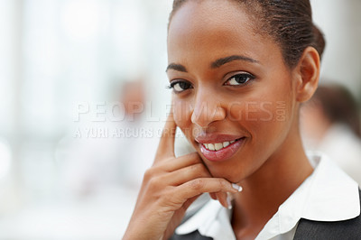 Buy stock photo Closeup of an elegant African American business woman smiling confidently