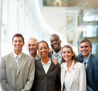 Buy stock photo Cheerful team of business people together